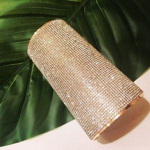 Rhinestone and Gold cuff bracelet